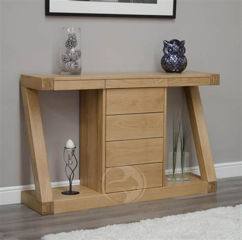 Hallway Console Table Z Shape Solid Oak Large Console Table With Drawers Oak Furniture Uk