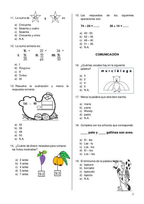 preguntas y respuestas nivel primaria examen de conocimiento