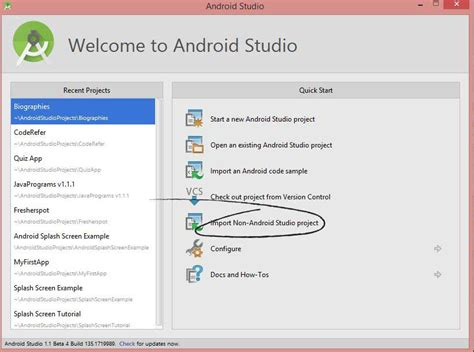 project android screen to pc how to import eclipse project into android studio
