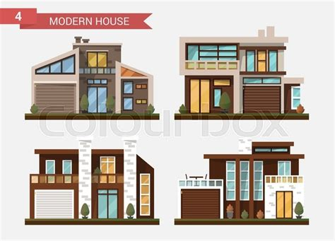 traditional and modern house family home flat design vector flat illustration traditional and modern house