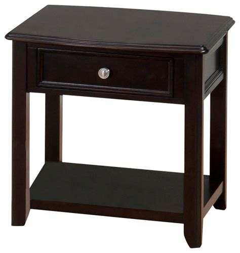 jofran corranado end table with drawer and shelf in