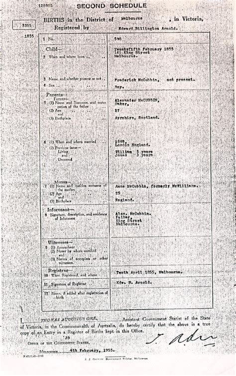 Time Of Birth Records Australia Sle Birth Certificates From Australia And Other Commonwealth Nations