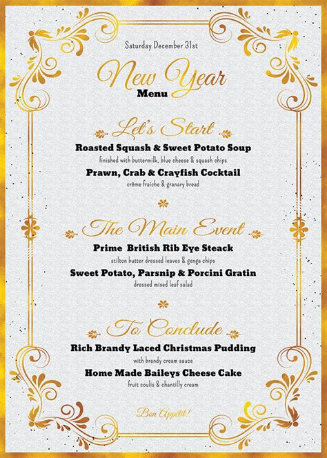new year menu template psd templates store