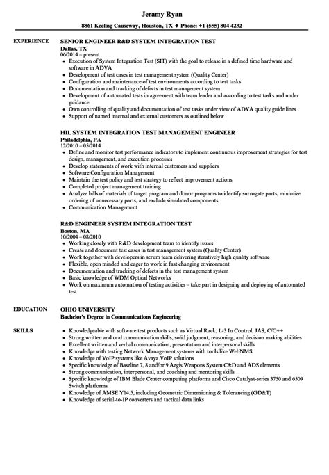 Software Integration Engineer Cover Letter by Vehicle Integration Engineer Sle Resume Iso Management Representative Sle Resume Template