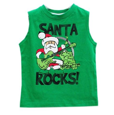 T Shirt Santa Syndicate Green Limited free shipping boy boys green santa claus design sleeveless tees tops vest t shirt shirts cotton
