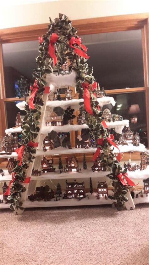 christmas village ladder display 1000 ideas about villages on display houses