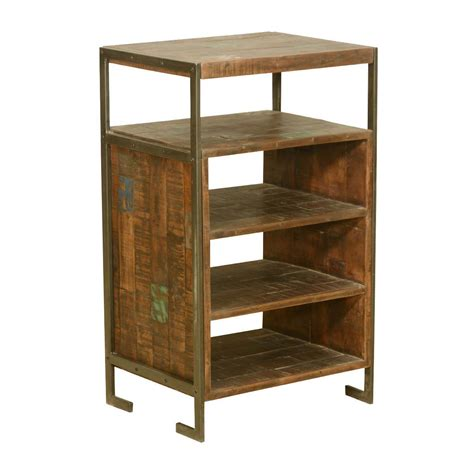rustic reclaimed wood iron frame 2 tier end table with 3