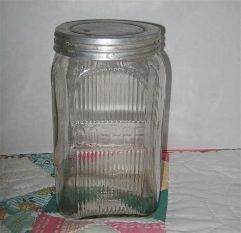 Black Kitchen Canister Set by Vintage Glass Coffee Canister Jar Sold On Ruby Lane