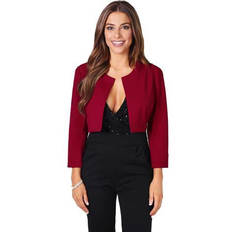 Bow Back Blazer Termurah womens crop open fit blazer bow back evening jacket wedding bolero shrug ebay