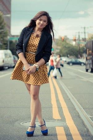 Polky Dress Ori Gamis Polka mustard polkadot dresses black cropped forever21 blazers quot the polky quot by janellesworkdiary
