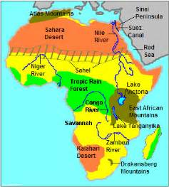 africa map geography silent physical map of africa