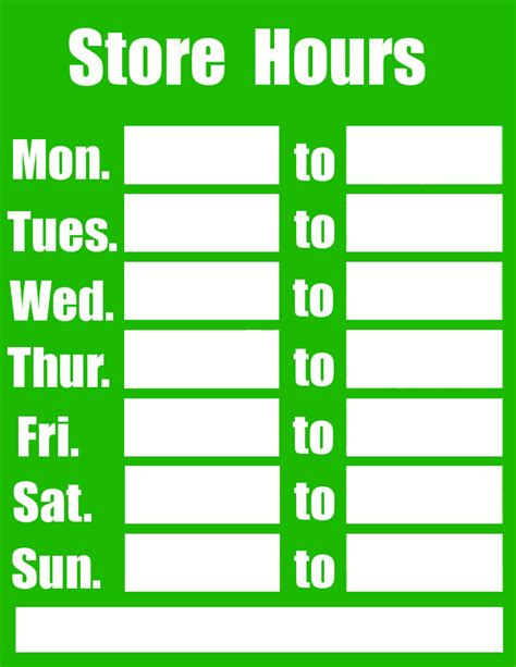 business hours sign green page frames full page signs