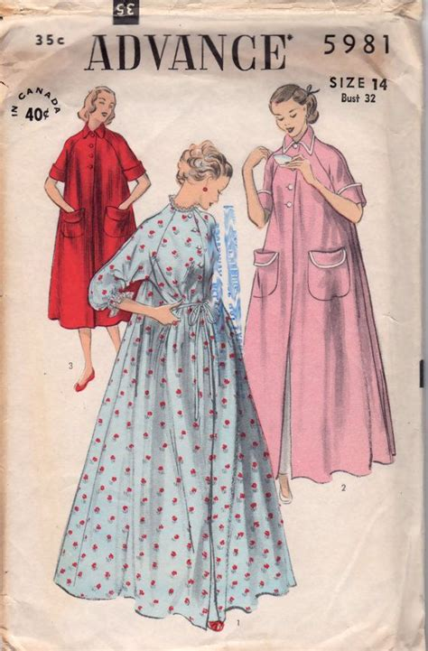 sewing pattern kimono dressing gown advance 5981 1950s misses duster robe peignoir pattern