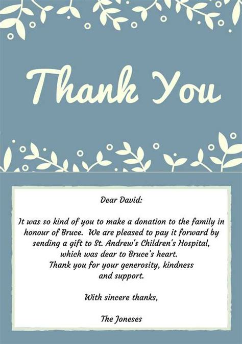 Thank You Letter For Donation For Funeral 33 Best Funeral Thank You Cards Funeral Note And Cards