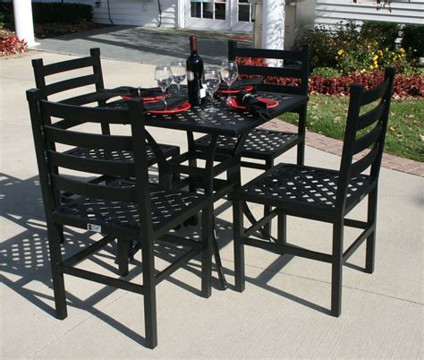 Ansley Luxury 4 Person All Welded Cast Aluminum Patio 30 Dining Table Set