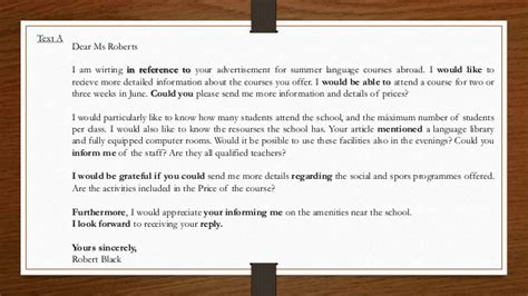Formal Letter About Course Formal Letters