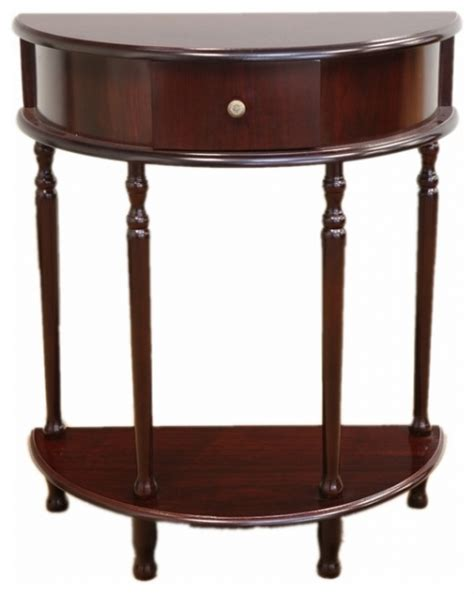 Half Moon Accent Table Half Moon End Table In Espresso Finish Traditional Side Tables For Half Moon End Table Noivmwc Org