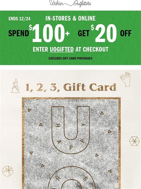 Urban Outfitters E Gift Card - urban outfitters 20 off 100 plus send an e gift card instantly milled