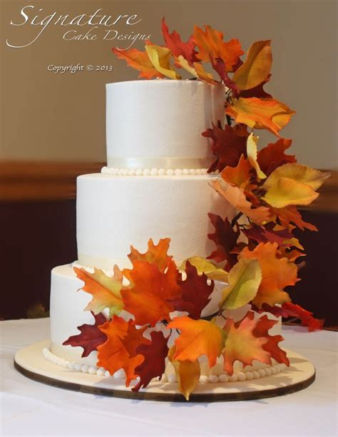 Simple Wedding Cake Ideas For Fall by Autumn Wedding Cakes With Leaves Diy Search