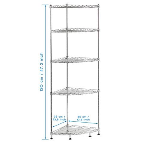 Lifewit Corner Shelf 5 Tiers Adjustable Metal Storage Wire Metal Bathroom Shelving Unit