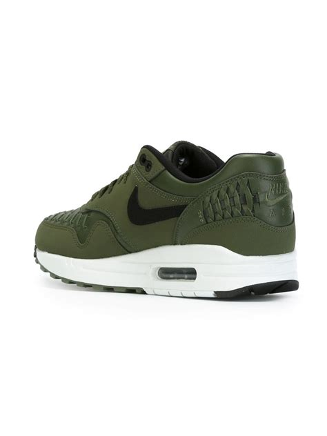 nike sneakers mens nike air max 1 woven sneakers in green for lyst