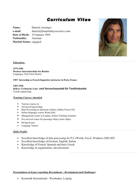 curriculum vitae english resume template