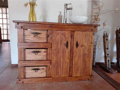 muebles de bano rustico madera herrajes de hierro