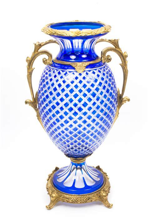 Ormolu Vase by Beautiful Blue Cut Glass Ormolu Mounted Vase