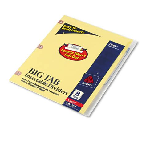 insertable big tab dividers 8 tab letter