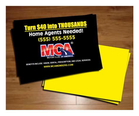 mca business card template motor club of america professional marketing tools