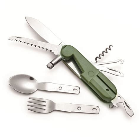 outdoor tableware swiss multifunction cing knife army knife with led light stainless steel