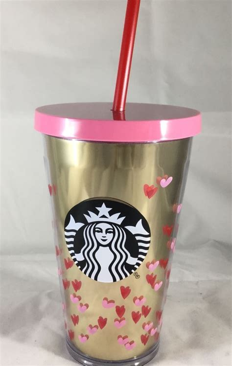 starbucks valentines cup new starbucks valentines day cold cup gold pink hearts