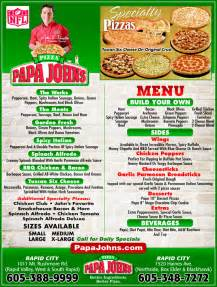 home delivery menu of papa johns papa s pizza rapid city sd 57701 yellowbook