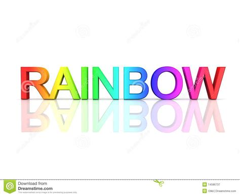 what time is world of color the word rainbow in rainbow colors royalty free stock