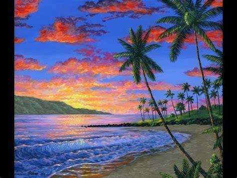 Lukisan Pemandangan Pantai cara melukis pantai saat matahari terbenam dengan menggunakan akrilik di atas kanvas