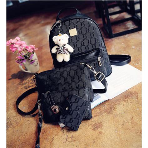 Tas 4 In 1 tas ransel fashion wanita bag in bag 4 in 1 black