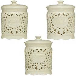 Coffee Kitchen Canisters by Tea Coffee Sugar Ceramic Lace Canister Jar Great For