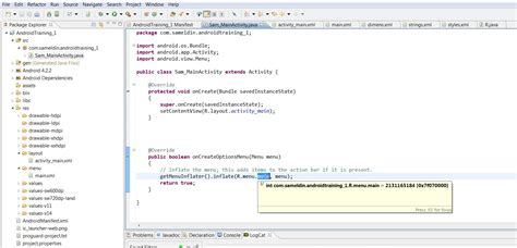 res layout main xml android training page