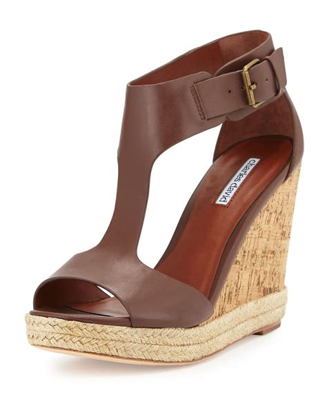 S W A T Leather Brown charles david leather t wedge w jute trim in