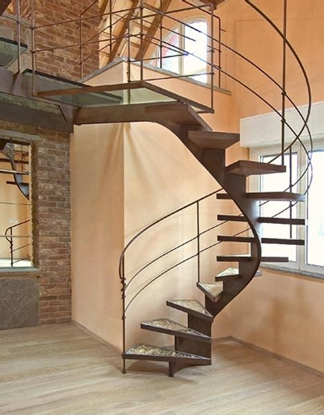 Spiral Staircase by Elegant Steel Spiral Staircase Reuses Scrap Wood Shavings