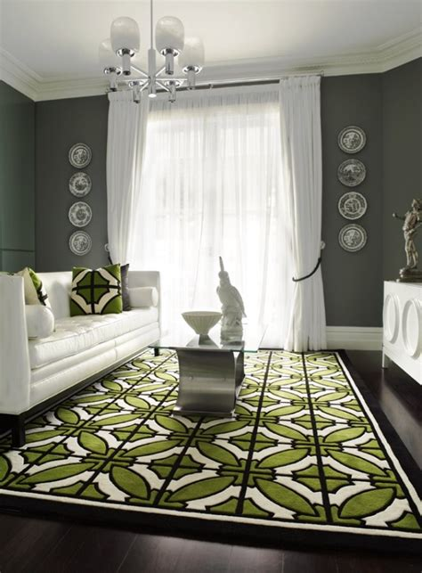 green geometric rug and gray walls carpet pinterest