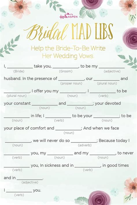 wedding vows bridal shower mad lib bachelorette rehearsal 5 bridal shower the will definitely