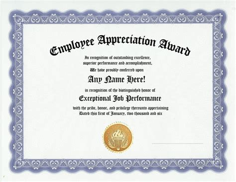 Employee Recognition Award Template employee appreciation award certificate office work