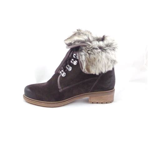 Faux Fur Lace Up Ankle Boots ara kansas st 12 48826 brown suede lace up ankle boot with