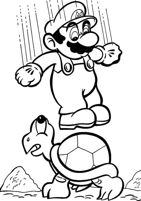 mario jumping coloring page coloring mario jumps on a turtle picture