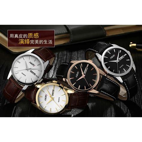jam tangan swatch kulit 5 nary jam tangan analog kulit 1901 brown white