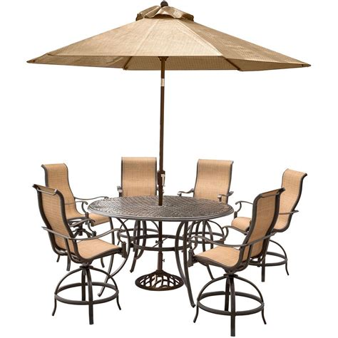 Bar Height Outdoor Dining Table Set Hanover Manor 7 Aluminum Outdoor Bar Height Dining Set With Swivels Cast Top Table