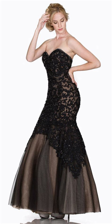 strapless appliqued mermaid prom gown lace up back gold discountdressshop