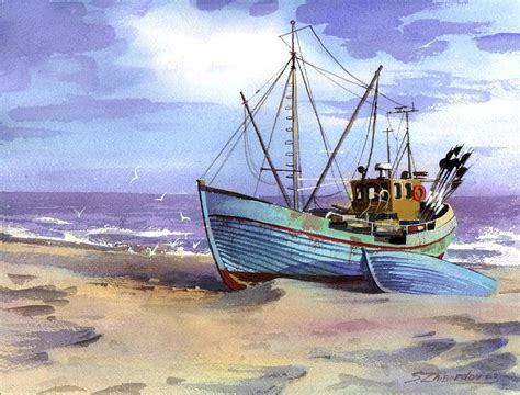 boat canvas long beach boat on a beach painting by sergey zhiboedov