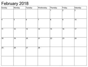 Calendar 2018 January And February February 2018 Calendar